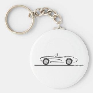 1956 1957 Chevrolet Corvette Basic Round Button Key Ring
