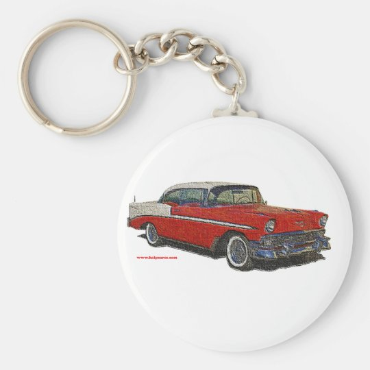 1956_Chevrolet_emboss Basic Round Button Key Ring