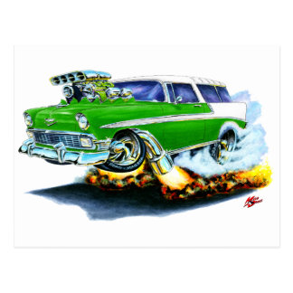1956 Chevy Nomad Green Car Post Card
