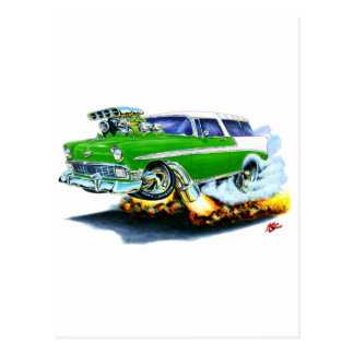 1956 Chevy Nomad Green Car Postcard