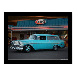 1956 Chevy Wagon Classic Car Drive-In Poster