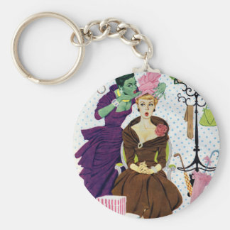 1956 Jealousy whispers into Gloria's ear Basic Round Button Keychain