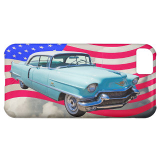 1956 Sedan Deville Cadillac And American Flag Cover For iPhone 5C