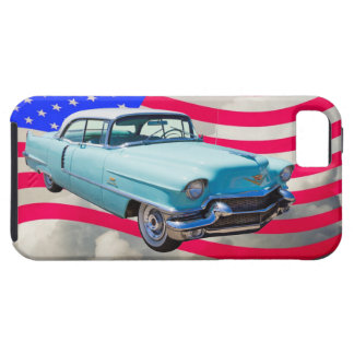 1956 Sedan Deville Cadillac And American Flag iPhone 5/5S Cover