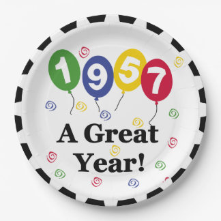 1957 A Great Year Birthday Paper Plates