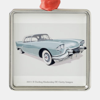 1957 Cadillac with silhouette of driver inside Christmas Ornament