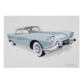 1957 Cadillac with silhouette of driver inside Poster