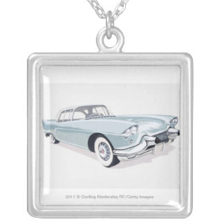 1957 Cadillac with silhouette of driver inside Silver Plated Necklace