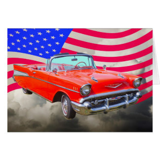 1957 Chevrolet Bel Air And US Flag Card