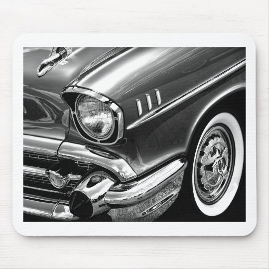1957 Chevrolet Bel Air Black & White Mouse Pad
