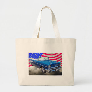 1957 Chevrolet Bel Air with American Flag Tote Bag