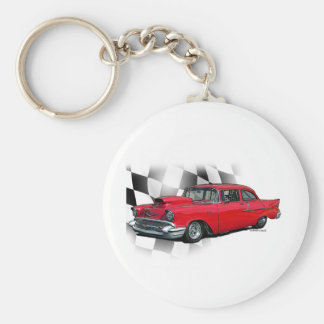 1957 Chevrolet Dragster Basic Round Button Key Ring