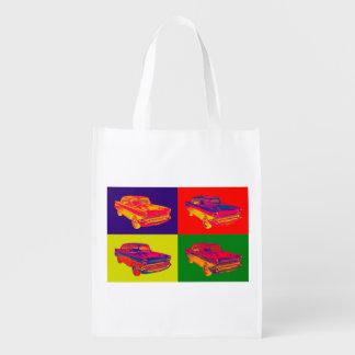 1957 Chevy Bel Air Car Pop Art Reusable Grocery Bag