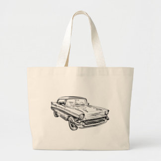 1957 Chevy Bel Air Illustration Canvas Bags