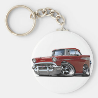 1957 Chevy Belair Maroon Hot Rod Basic Round Button Key Ring