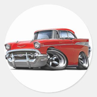 1957 Chevy Belair Red Hot Rod Round Sticker
