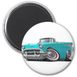 1957 Chevy Belair Turquoise Convertible 6 Cm Round Magnet