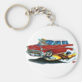 1957 Chevy Nomad Maroon Car Basic Round Button Key Ring