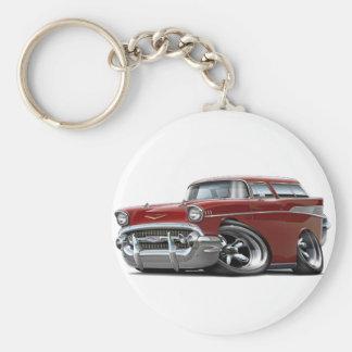 1957 Chevy Nomad Maroon Hot Rod Basic Round Button Key Ring