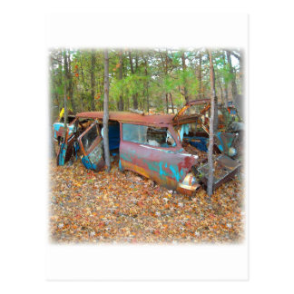1957 Chevy Nomad Rusting in Wooded Junkyard Post Card