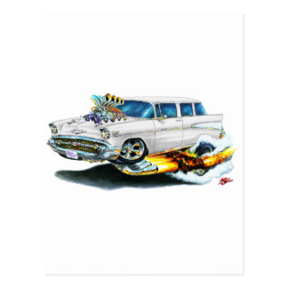 1957 Chevy Nomad White Car Post Card