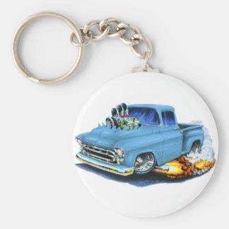 1957 Chevy Pickup Lt Blue Basic Round Button Key Ring