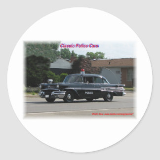 1957 Pontiac Laurentian Police Car Round Sticker
