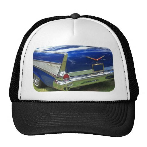 1957 Rear Fin and Fender of a blue chevy Hat