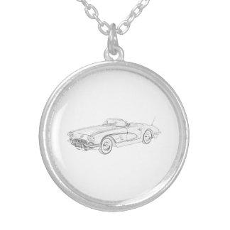 1958 Chevy Corvette Round Pendant Necklace