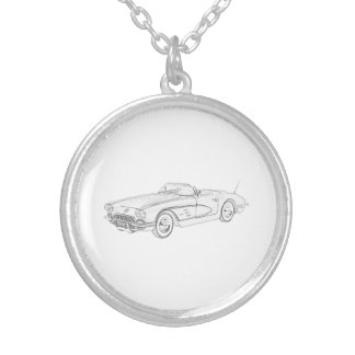 1958 Chevy Corvette Silver Plated Necklace