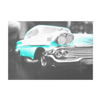1958 chevy impala bright blue gallery wrap canvas