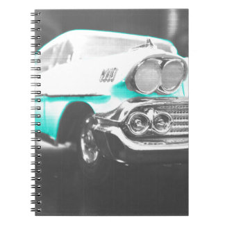 1958 chevy impala bright blue classic car spiral notebook