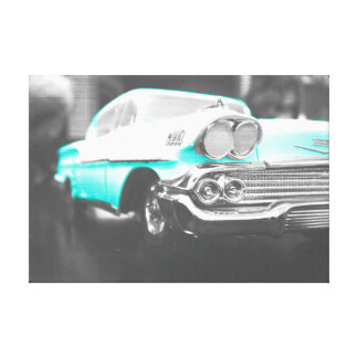1958 chevy impala bright blue stretched canvas print