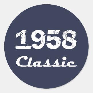 1958 Classic 60th Birthday Celebration Classic Round Sticker