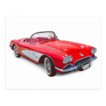 1958 Corvette Convertible Red Classic Car Post Cards