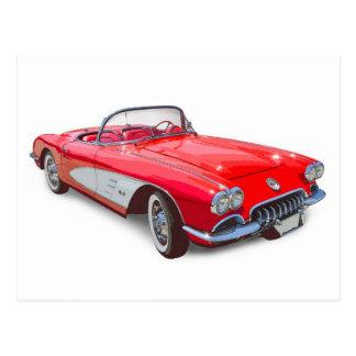 1958 Corvette Convertible Red Classic Car Postcard