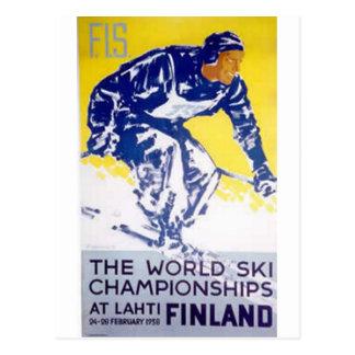 1958 world ski champion finland postcard