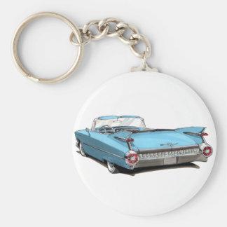 1959 Cadillac Lt Blue Car Basic Round Button Key Ring