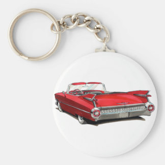 1959 Cadillac Red Car Basic Round Button Key Ring