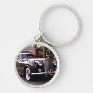 1959 Classic Rolls Royce Silver-Colored Round Key Ring