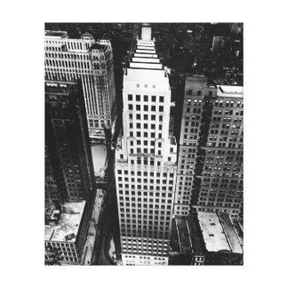 1960:  An aerial view of a Chicago skyscraper Canvas Print