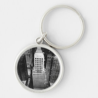 1960:  An aerial view of a Chicago skyscraper Silver-Colored Round Key Ring