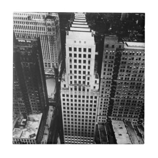 1960:  An aerial view of a Chicago skyscraper Small Square Tile