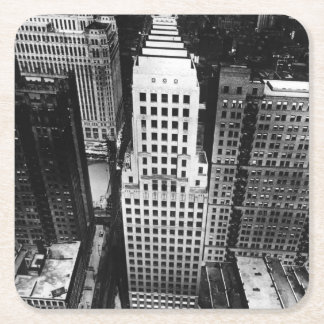 1960:  An aerial view of a Chicago skyscraper Square Paper Coaster