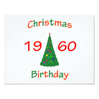 1960 Christmas Birthday 4.25x5.5 Paper Invitation Card