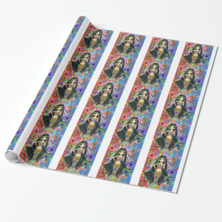 1960s/ 1970s Hippie Girl Mermaid Peace Sign Wrapping Paper