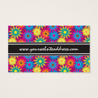 1960s Flower Power Colorful Floral Modern Pattern Business Card