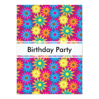 1960s Flower Power Colorful Floral Modern Pattern Custom Invitation