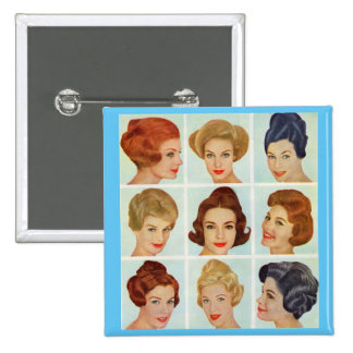1960s hairstyles grid 15 cm square badge