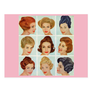 1960s hairstyles grid postcard